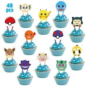 New 48Pcs Pikachu Pokemon Cupcake Toppers